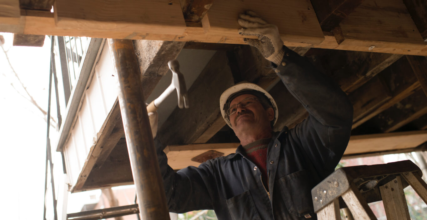 A worker reinforcing the structure